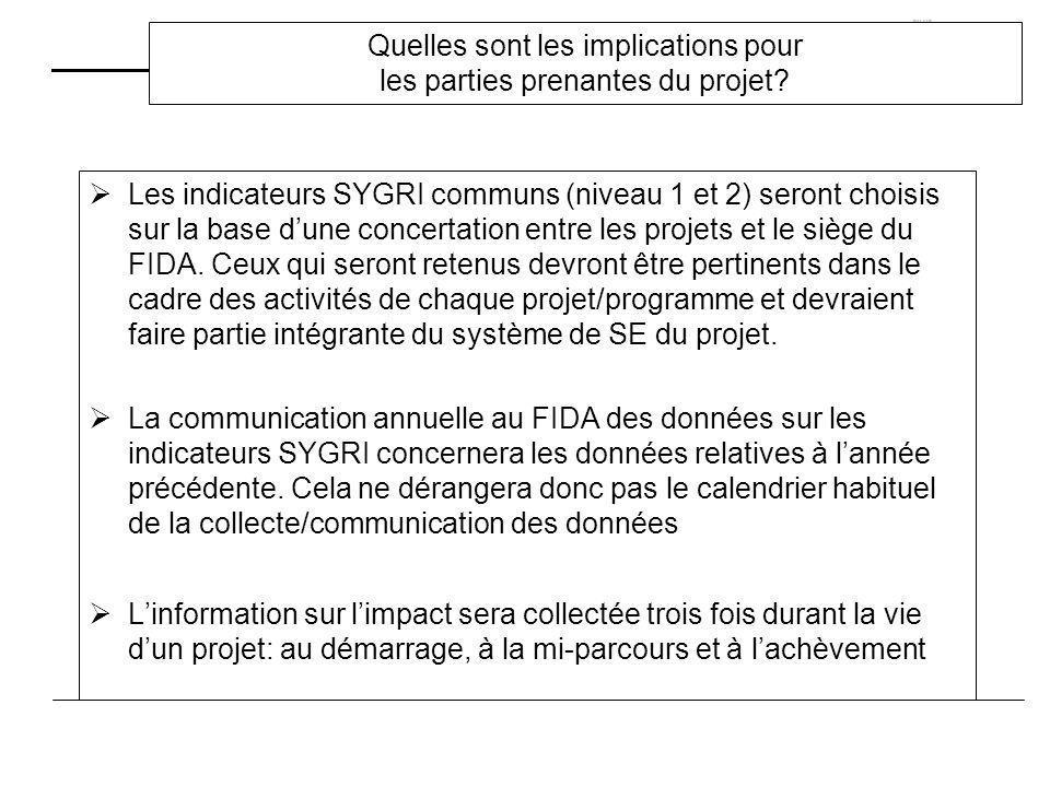 Quelles sont les implications pour les parties prenantes du projet? Les indicateurs SYGRI communs (niveau 1 et 2) seront choisis sur la base dune conc