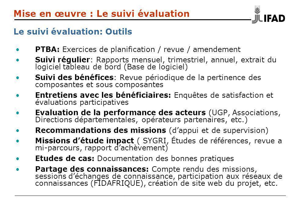 PTBA: Exercices de planification / revue / amendement Suivi régulier: Rapports mensuel, trimestriel, annuel, extrait du logiciel tableau de bord (Base de logiciel) Suivi des bénéfices: Revue périodique de la pertinence des composantes et sous composantes Entretiens avec les bénéficiaires: Enquêtes de satisfaction et évaluations participatives Evaluation de la performance des acteurs (UGP, Associations, Directions départementales, opérateurs partenaires, etc.) Recommandations des missions (dappui et de supervision) Missions détude impact ( SYGRI, Études de références, revue a mi-parcours, rapport dachèvement) Etudes de cas: Documentation des bonnes pratiques Partage des connaissances: Compte rendu des missions, sessions déchanges de connaissance, participation aux réseaux de connaissances (FIDAFRIQUE), création de site web du projet, etc.