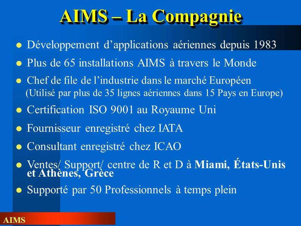 AIMS Développement dapplications aériennes depuis 1983 Plus de 65 installations AIMS à travers le Monde Chef de file de lindustrie dans le marché Euro