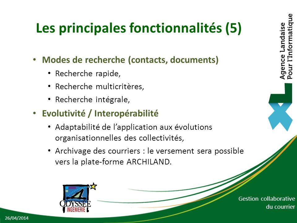 Gestion collaborative du courrier Les principales fonctionnalités (5) Modes de recherche (contacts, documents) Recherche rapide, Recherche multicritèr