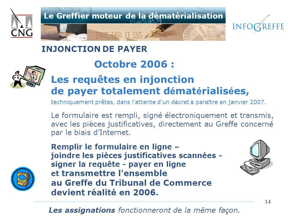 14 Octobre 2006 : Les requêtes en injonction de payer totalement d é mat é rialis é es, techniquement prêtes, dans l'attente d'un d é cret à para î tr