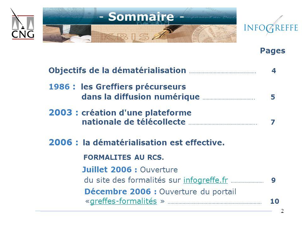 2 Pages Objectifs de la dématérialisation …………………………………………. 4 1986 : les Greffiers précurseurs dans la diffusion numérique ……………………………….. 5 2003 : cré