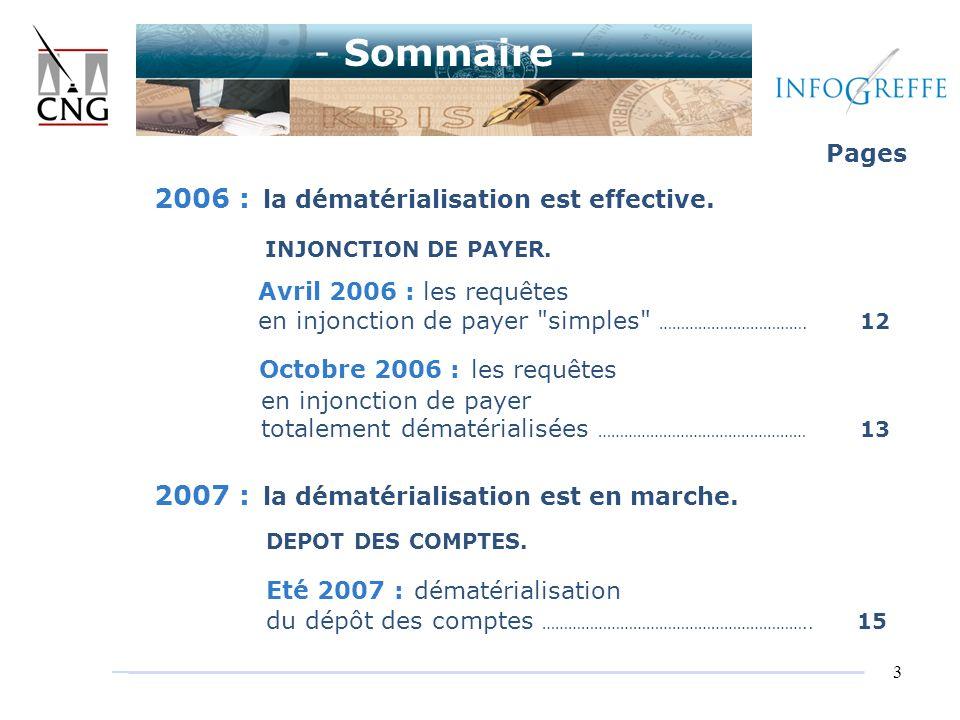 3 Pages 2006 : la dématérialisation est effective. INJONCTION DE PAYER. Avril 2006 : les requêtes en injonction de payer
