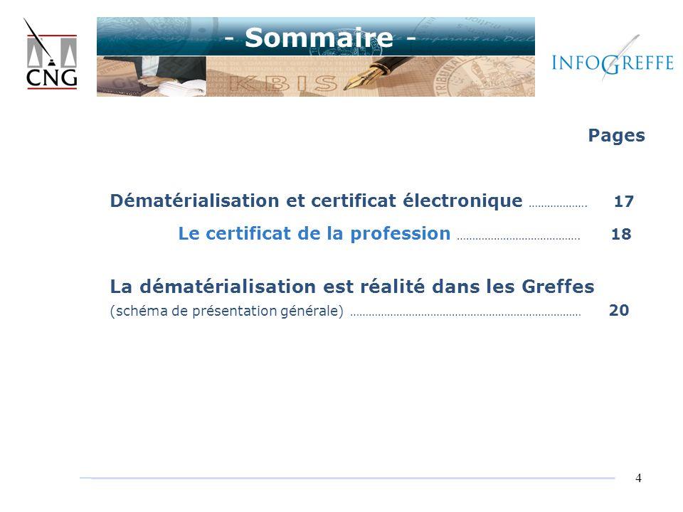 4 Pages Dématérialisation et certificat électronique ………………. 17 Le certificat de la profession …………………………………. 18 La dématérialisation est réalité dans
