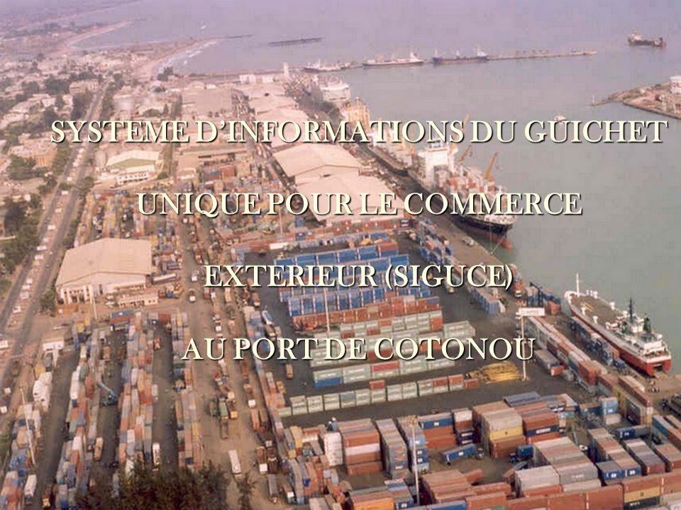 L objectif de la mise en place d une interface entre le SYDONIA++ et le SIGUCE, n est pas que de voir transmettre les manifestes, ses titres et les déclarations.