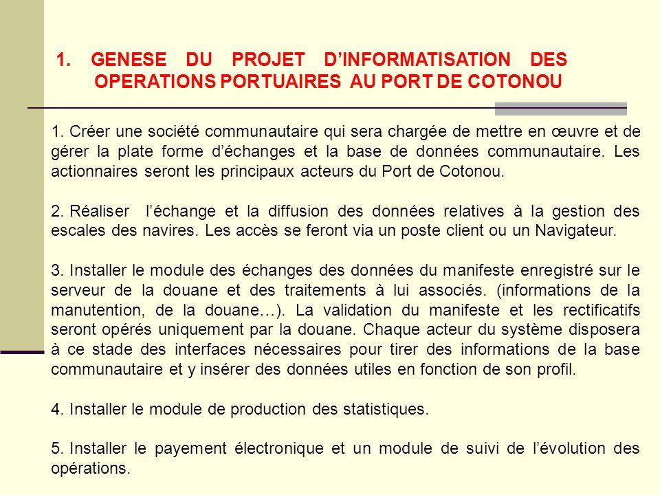 1.GENESE DU PROJET DINFORMATISATION DES OPERATIONS PORTUAIRES AU PORT DE COTONOU 1.