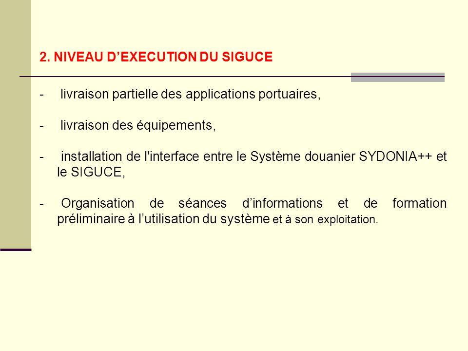 2. NIVEAU DEXECUTION DU SIGUCE - livraison partielle des applications portuaires, - livraison des équipements, - installation de l'interface entre le
