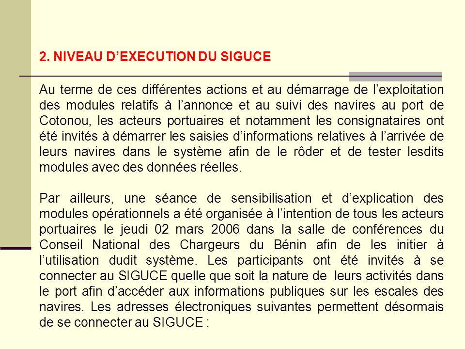 2. NIVEAU DEXECUTION DU SIGUCE Au terme de ces différentes actions et au démarrage de lexploitation des modules relatifs à lannonce et au suivi des na