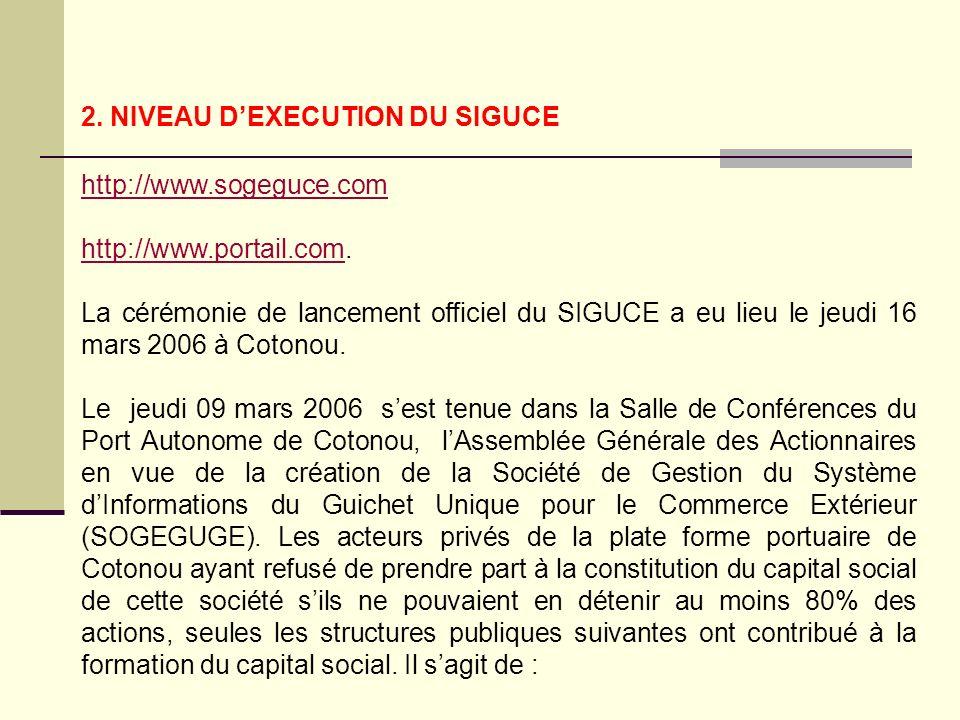 2. NIVEAU DEXECUTION DU SIGUCE http://www.sogeguce.com http://www.portail.comhttp://www.portail.com. La cérémonie de lancement officiel du SIGUCE a eu