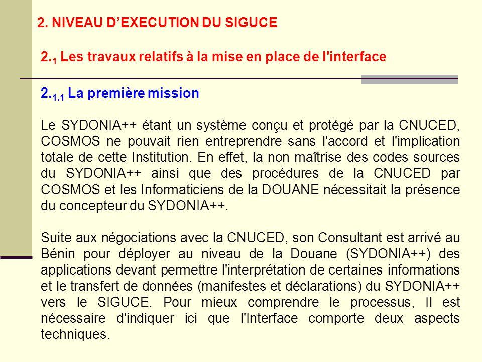 2. 1.1 La première mission Le SYDONIA++ étant un système conçu et protégé par la CNUCED, COSMOS ne pouvait rien entreprendre sans l'accord et l'implic