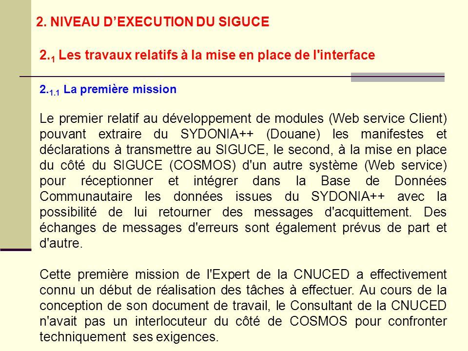 2. 1.1 La première mission Le premier relatif au développement de modules (Web service Client) pouvant extraire du SYDONIA++ (Douane) les manifestes e