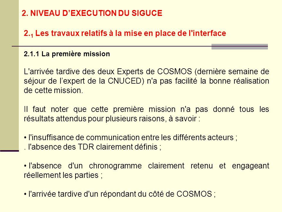 2.1.1 La première mission L arrivée tardive des deux Experts de COSMOS (dernière semaine de séjour de lexpert de la CNUCED) n a pas facilité la bonne réalisation de cette mission.