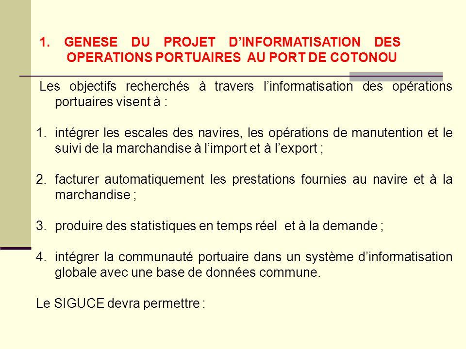 1. GENESE DU PROJET DINFORMATISATION DES OPERATIONS PORTUAIRES AU PORT DE COTONOU Les objectifs recherchés à travers linformatisation des opérations p