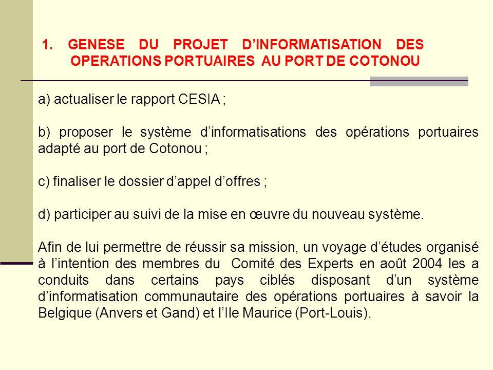 1. GENESE DU PROJET DINFORMATISATION DES OPERATIONS PORTUAIRES AU PORT DE COTONOU a) actualiser le rapport CESIA ; b) proposer le système dinformatisa