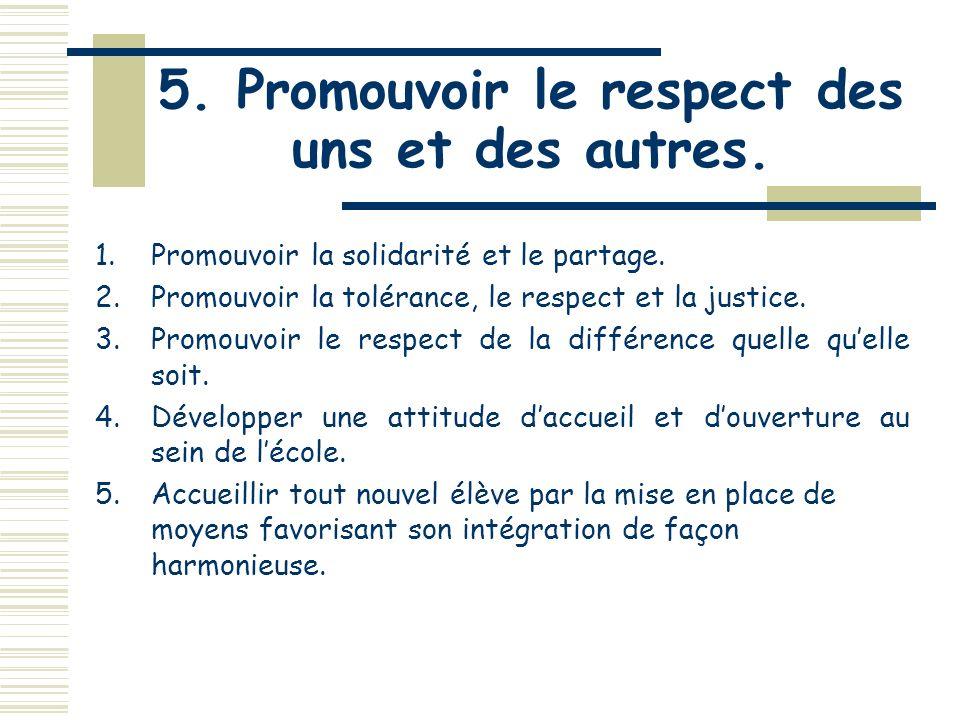 4. Promouvoir lengagement des élèves dans leur réussite 7.Offrir aux élèves de développer les valeurs de la démocratie et celles de lentrepreneuriat.