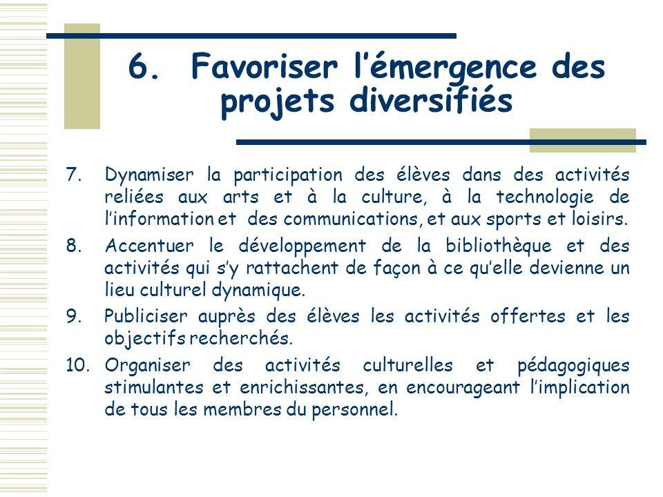 6. Favoriser lémergence de projets diversifiés 1.Encourager lémergence de projets qui répondent aux attentes des élèves en développant une vie étudian