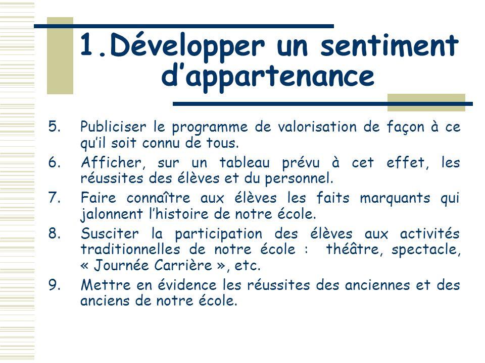 1.Développer un sentiment dappartenance 1.Développer, chez les élèves et le personnel, lesprit dappartenance à lécole.