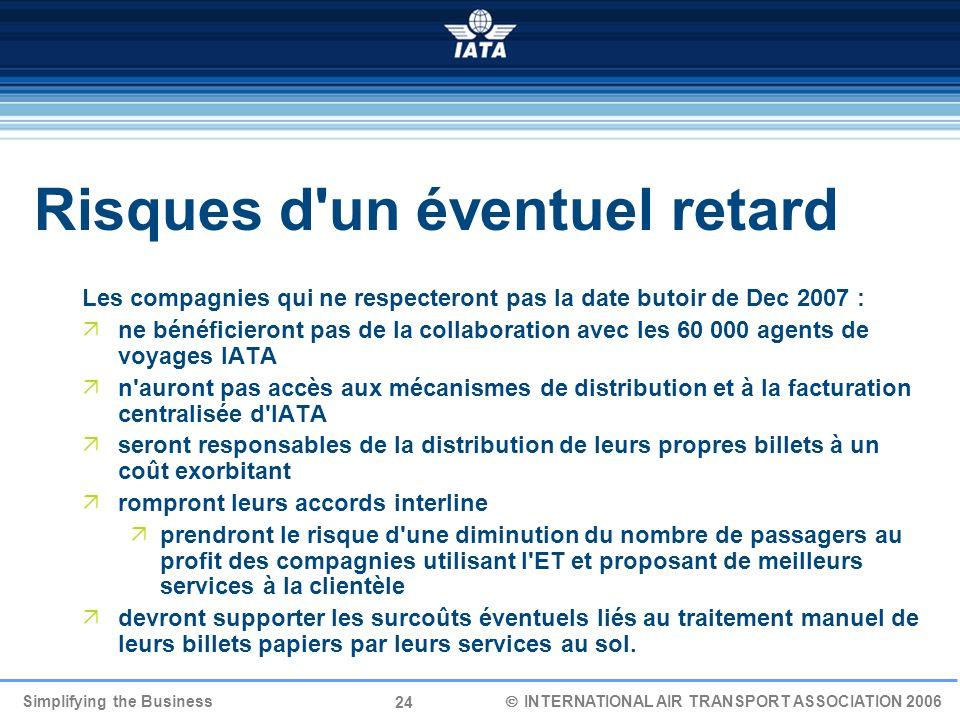 24 Simplifying the Business INTERNATIONAL AIR TRANSPORT ASSOCIATION 2006 Les compagnies qui ne respecteront pas la date butoir de Dec 2007 : ne bénéfi