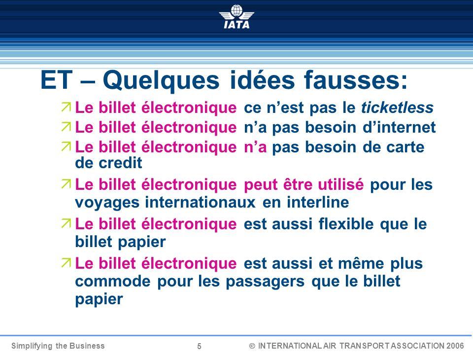 26 Simplifying the Business INTERNATIONAL AIR TRANSPORT ASSOCIATION 2006 Nos plans pour le futur pour commencer ET Plus de compagnies « rouges » dici juin 2006.