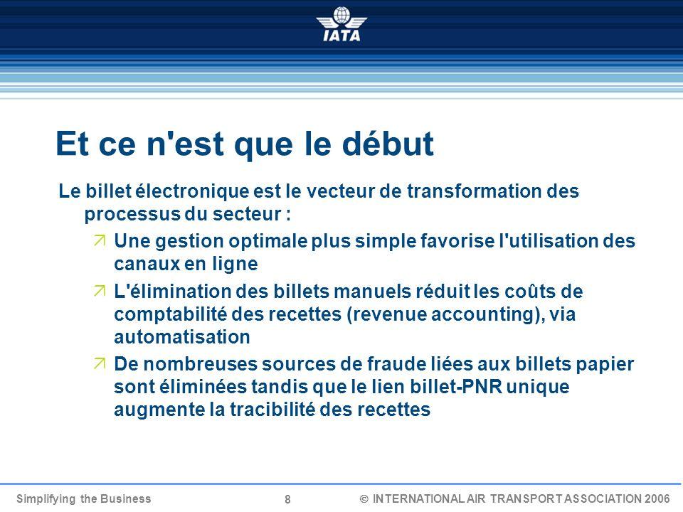 8 Simplifying the Business INTERNATIONAL AIR TRANSPORT ASSOCIATION 2006 Et ce n'est que le début Le billet électronique est le vecteur de transformati