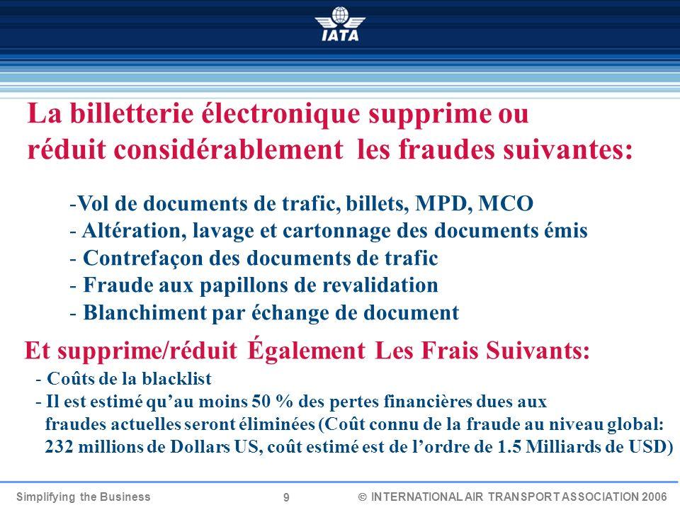 9 Simplifying the Business INTERNATIONAL AIR TRANSPORT ASSOCIATION 2006 La billetterie électronique supprime ou réduit considérablement les fraudes su