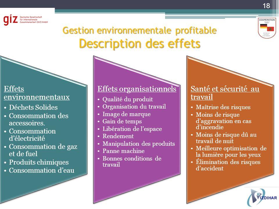 Gestion environnementale profitable Description des effets Effets environnementaux Déchets Solides Consommation des accessoires. Consommation délectri
