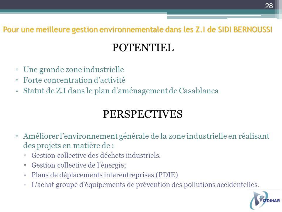 Pour une meilleure gestion environnementale dans les Z.I de SIDI BERNOUSSI POTENTIEL Une grande zone industrielle Forte concentration dactivité Statut