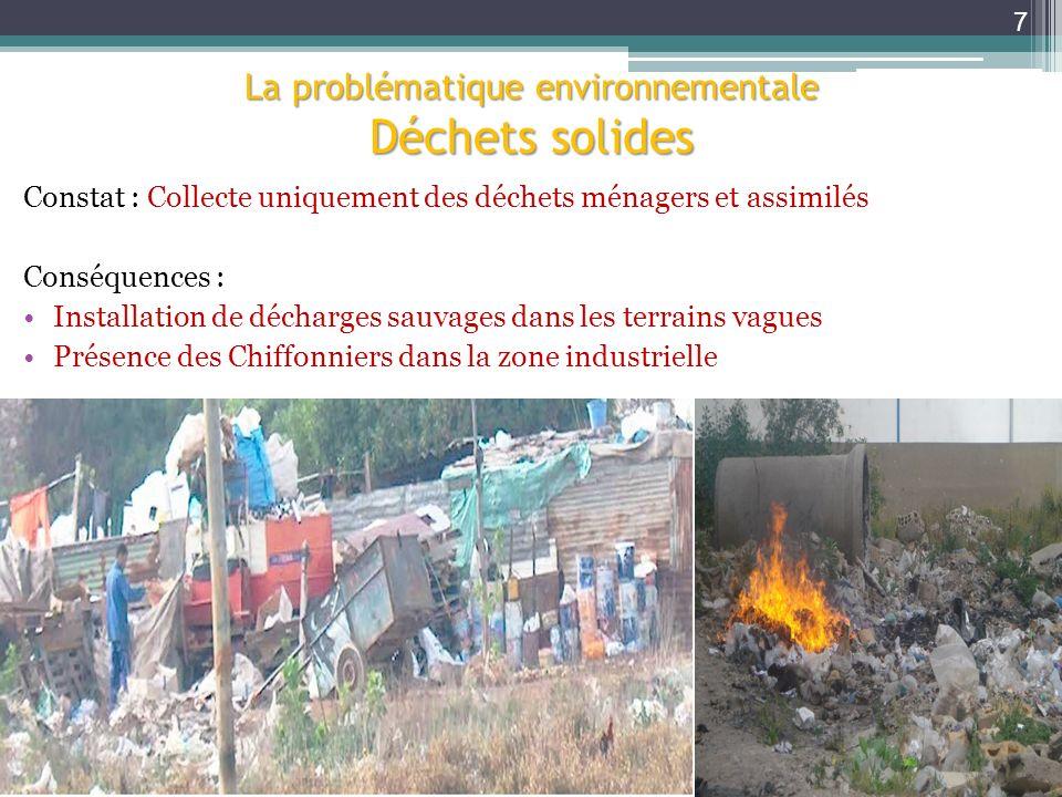 Constat : Collecte uniquement des déchets ménagers et assimilés Conséquences : Installation de décharges sauvages dans les terrains vagues Présence de