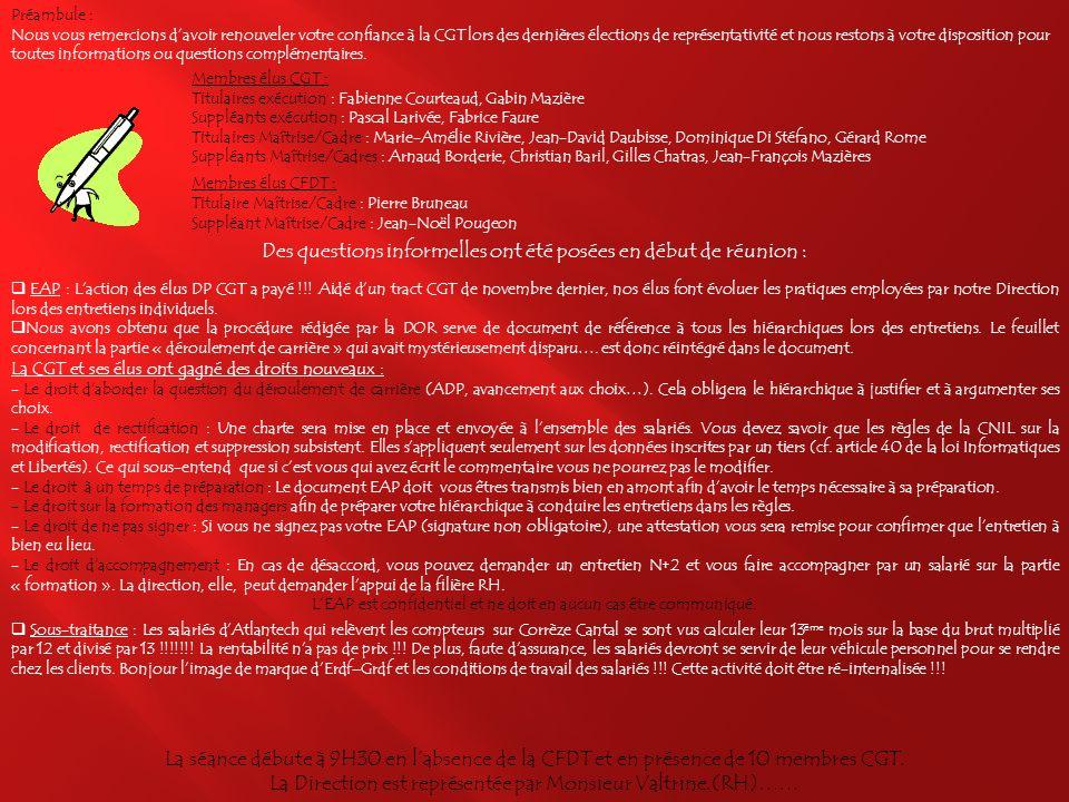 REUNION DELEGUES DU PERSONNEL Unité Clients Fournisseurs Limousin-Auvergne Préambule : Droit daccès, de rectification et modification de lEAP et Sous-traitance Question 1 : Réactivation site Intranet COCA Question 2 : Notification du nouvel échelon Question 3 : Prime exceptionnelle « grand froid » Question 4 : « Accueil Distributeur » Cité Cazeau Question 5 : Droit daccès pour les élus Question 6 : Augmentation du Salaire National de Base (SNB) Question 7 : Prime Informatique Question 8 : Registre Unique du Personnel Question 9 : Liste apprentis année en cours Question 10 : Ergonomie des postes de travail Accès direct à la réponse en cliquant sur la question