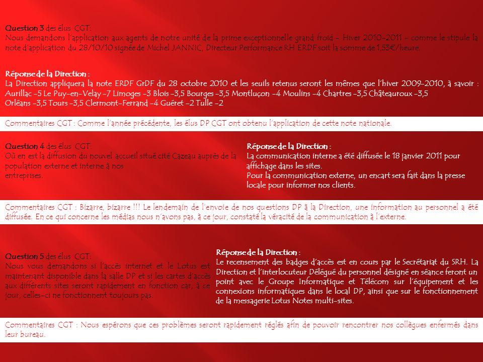 Question 1 des élus CGT: Les délégués du personnel UCF LA souhaitent la réactivation du site Intranet COCA permettant laccès à lannuaire du Centre, au catalogue « appareils ménagers », etc… Réponse de la Direction : La Direction précise que le site intranet local Corrèze Cantal a été désactivé en 2008 lors de la mise en place du site officiel Intranet dErdf, conformément aux directives dentreprise.