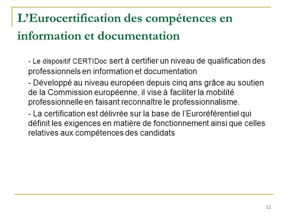 12 LEurocertification des compétences en information et documentation - Le dispositif CERTIDoc sert à certifier un niveau de qualification des professionnels en information et documentation - Développé au niveau européen depuis cinq ans grâce au soutien de la Commission européenne, il vise à faciliter la mobilité professionnelle en faisant reconnaître le professionnalisme.