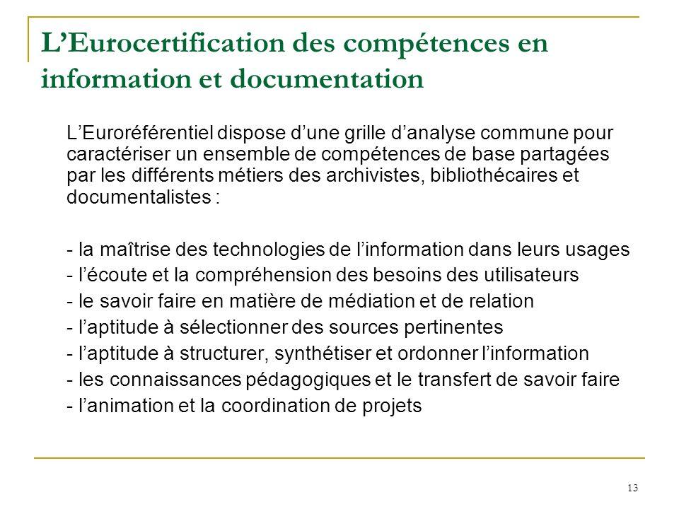 13 LEurocertification des compétences en information et documentation LEuroréférentiel dispose dune grille danalyse commune pour caractériser un ensem