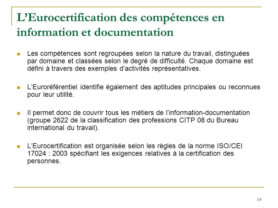 14 LEurocertification des compétences en information et documentation Les compétences sont regroupées selon la nature du travail, distinguées par domaine et classées selon le degré de difficulté.