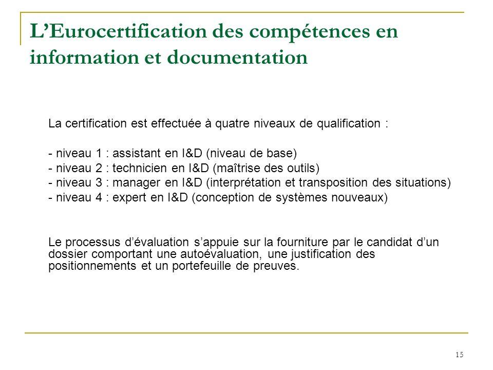 15 LEurocertification des compétences en information et documentation La certification est effectuée à quatre niveaux de qualification : - niveau 1 :