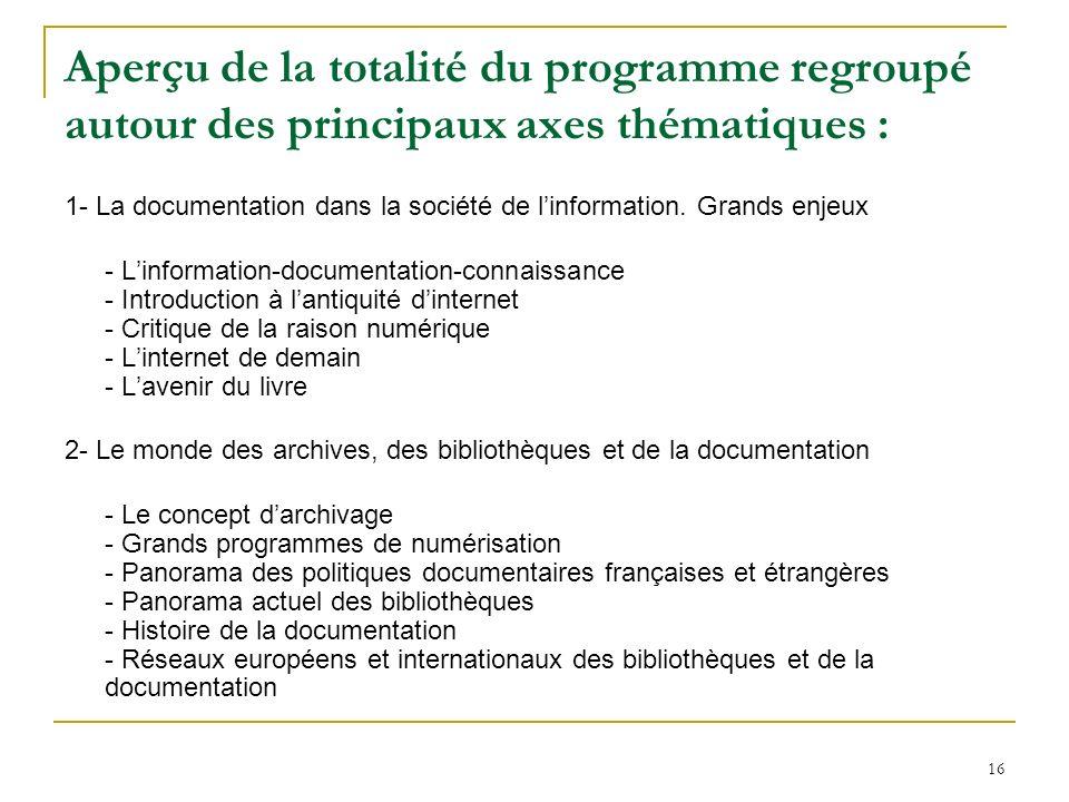 16 Aperçu de la totalité du programme regroupé autour des principaux axes thématiques : 1- La documentation dans la société de linformation. Grands en
