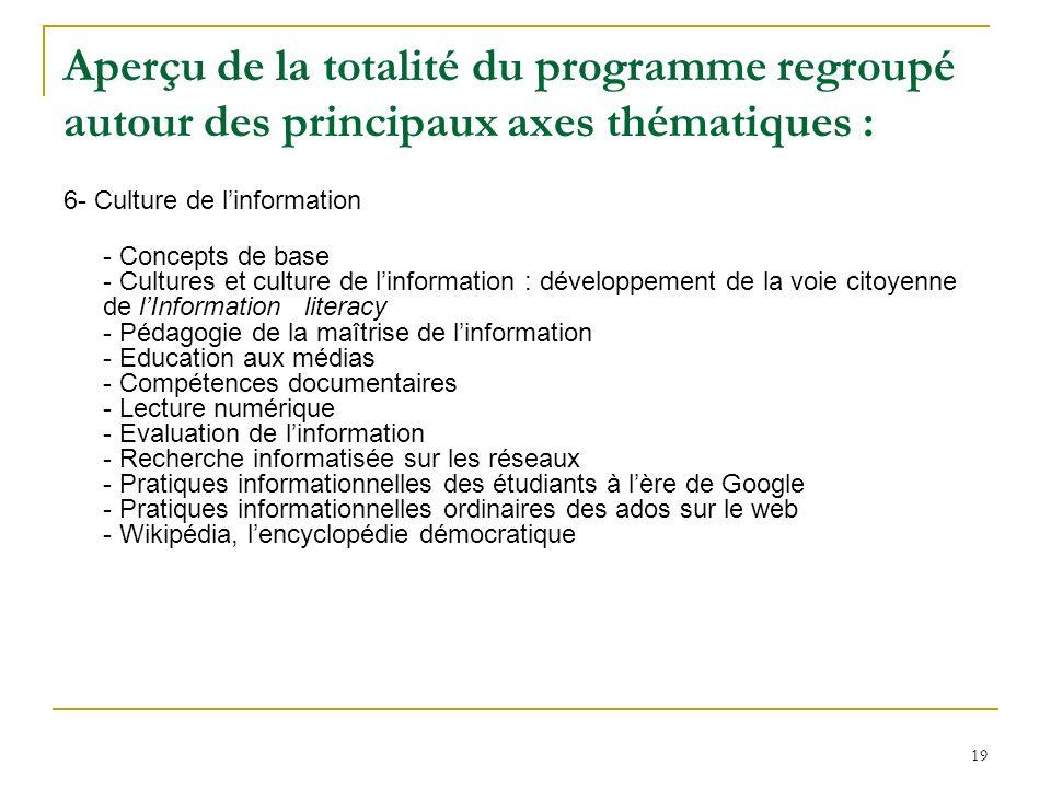 19 Aperçu de la totalité du programme regroupé autour des principaux axes thématiques : 6- Culture de linformation - Concepts de base - Cultures et cu