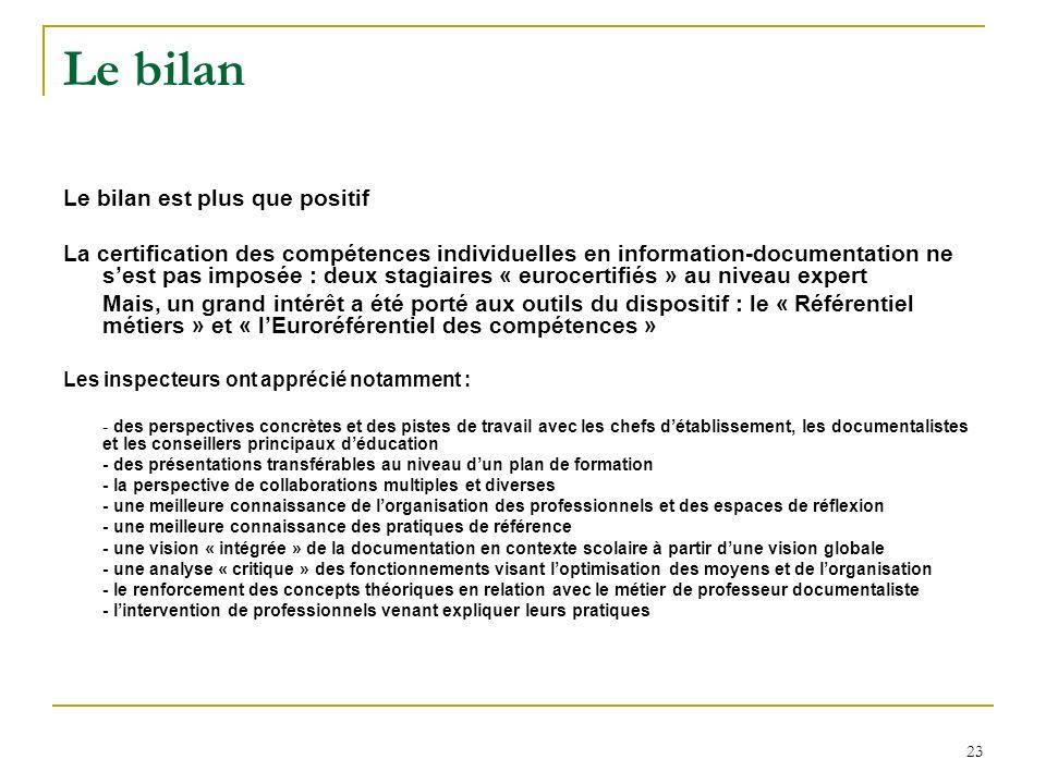 23 Le bilan Le bilan est plus que positif La certification des compétences individuelles en information-documentation ne sest pas imposée : deux stagi