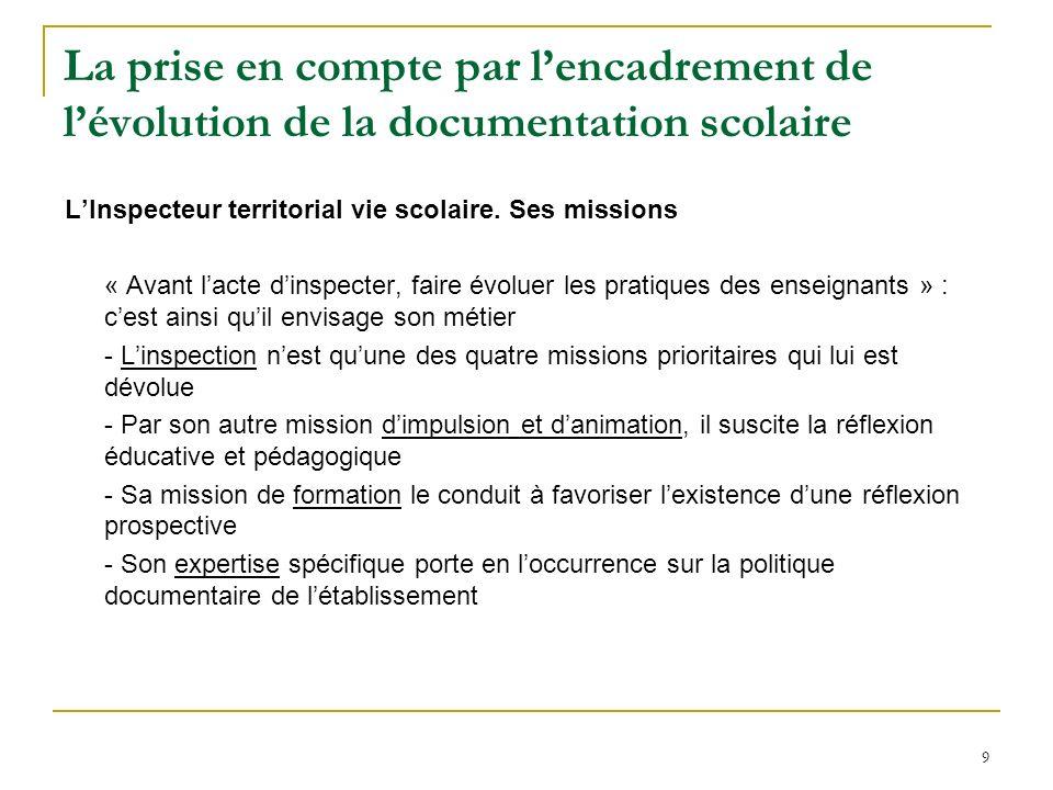 9 La prise en compte par lencadrement de lévolution de la documentation scolaire LInspecteur territorial vie scolaire. Ses missions « Avant lacte dins