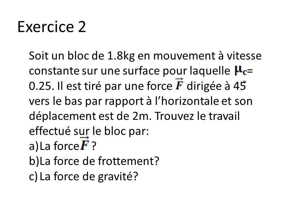 Exercice 2 Soit un bloc de 1.8kg en mouvement à vitesse constante sur une surface pour laquelle = 0.25. Il est tiré par une force dirigée à 45 ̊ vers