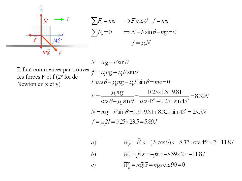 Il faut commencer par trouver les forces F et f (2 e loi de Newton en x et y)