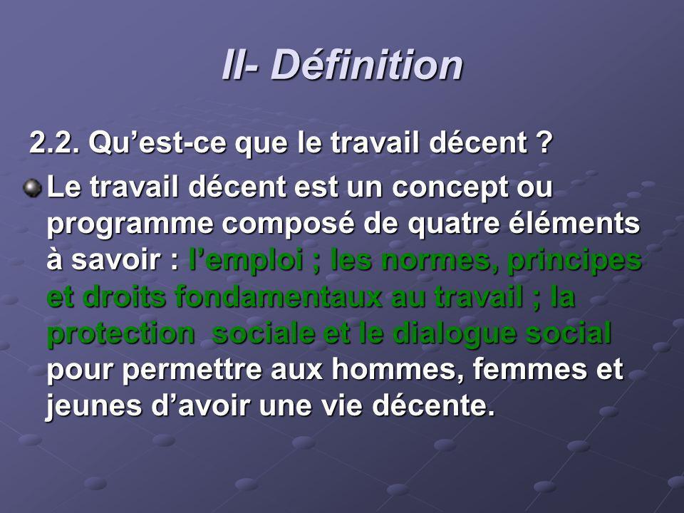 II- Définition 2.2. Quest-ce que le travail décent ? 2.2. Quest-ce que le travail décent ? Le travail décent est un concept ou programme composé de qu