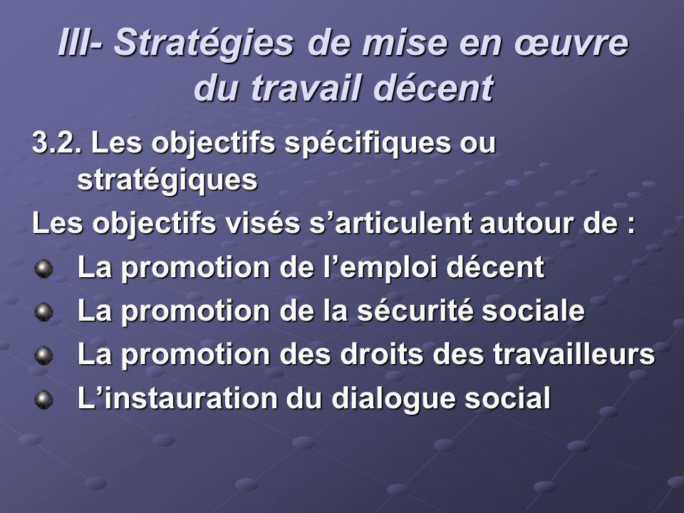 III- Stratégies de mise en œuvre du travail décent 3.2. Les objectifs spécifiques ou stratégiques Les objectifs visés sarticulent autour de : La promo