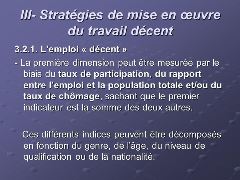 III- Stratégies de mise en œuvre du travail décent 3.2.1. Lemploi « décent » - La première dimension peut être mesurée par le biais du taux de partici