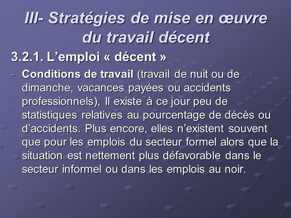 III- Stratégies de mise en œuvre du travail décent 3.2.1. Lemploi « décent » -Conditions de travail (travail de nuit ou de dimanche, vacances payées o
