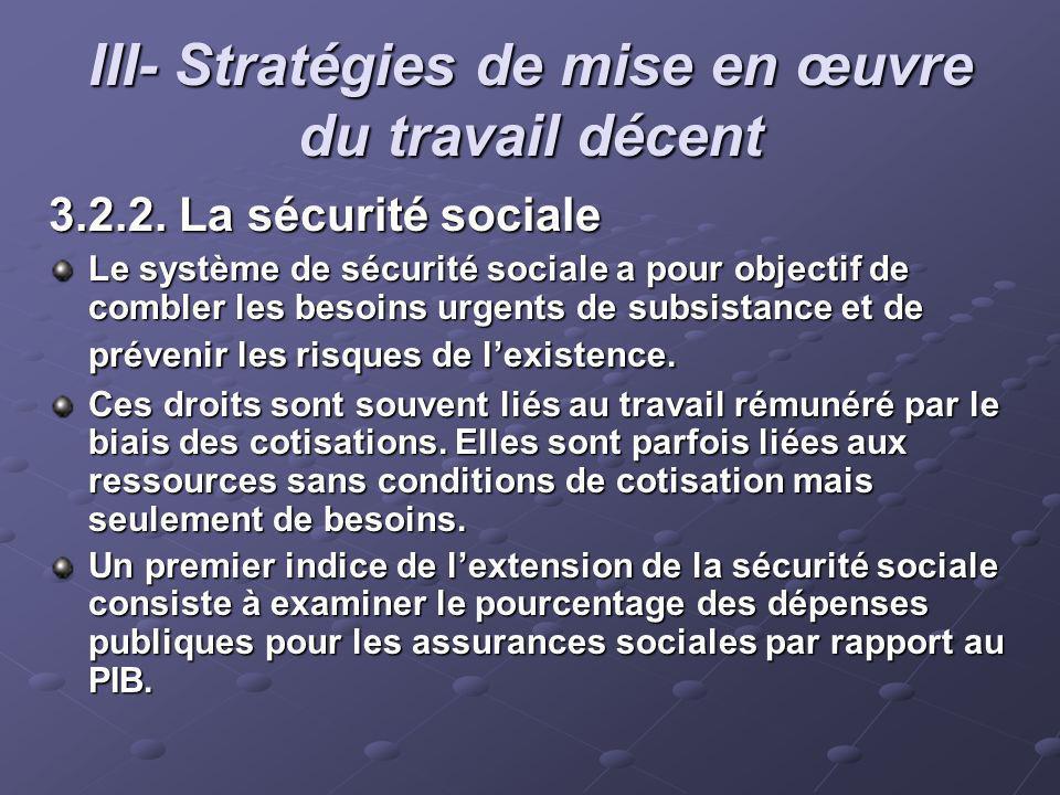 III- Stratégies de mise en œuvre du travail décent 3.2.2. La sécurité sociale Le système de sécurité sociale a pour objectif de combler les besoins ur