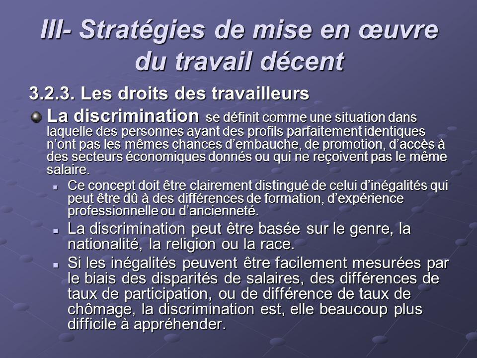 III- Stratégies de mise en œuvre du travail décent 3.2.3. Les droits des travailleurs La discrimination se définit comme une situation dans laquelle d