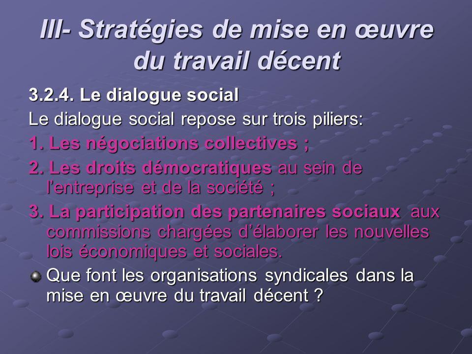 III- Stratégies de mise en œuvre du travail décent 3.2.4. Le dialogue social Le dialogue social repose sur trois piliers: 1. Les négociations collecti