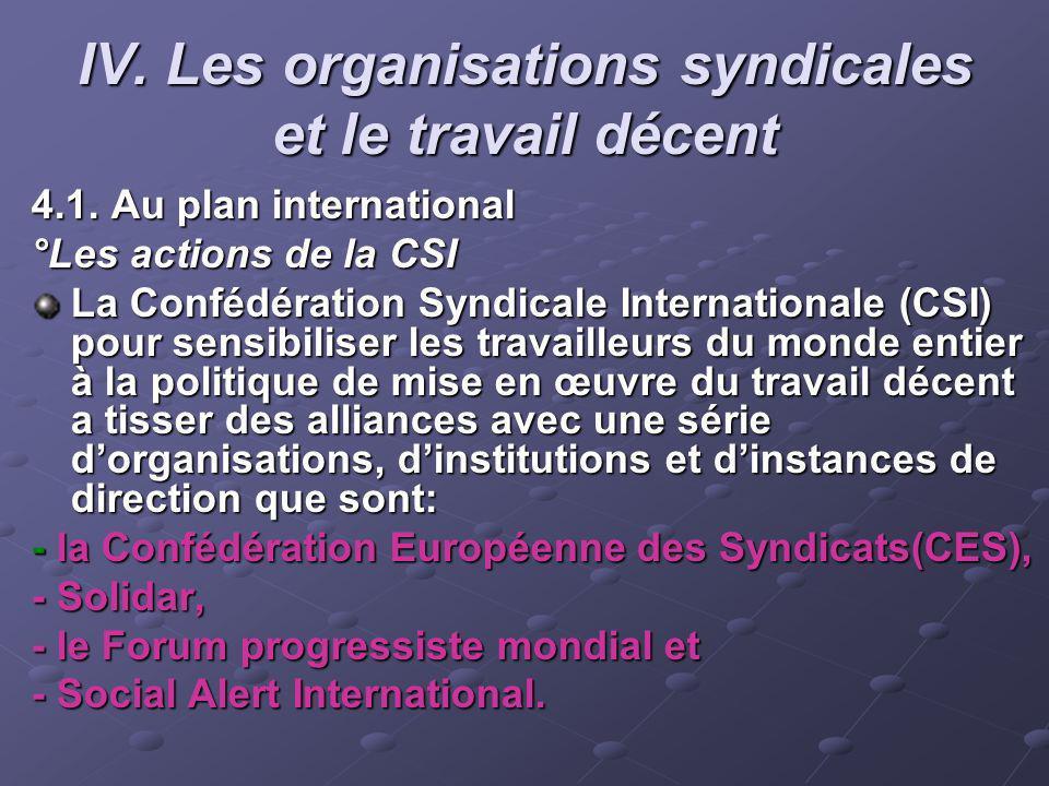 IV. Les organisations syndicales et le travail décent 4.1. Au plan international °Les actions de la CSI La Confédération Syndicale Internationale (CSI