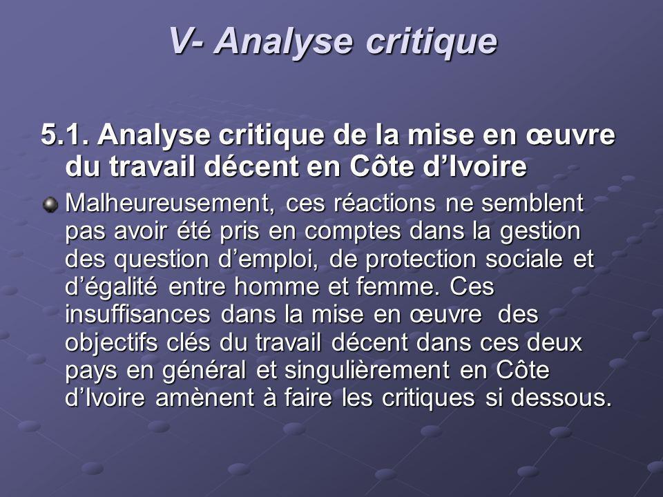 V- Analyse critique 5.1. Analyse critique de la mise en œuvre du travail décent en Côte dIvoire Malheureusement, ces réactions ne semblent pas avoir é