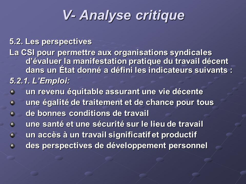 V- Analyse critique 5.2. Les perspectives La CSI pour permettre aux organisations syndicales dévaluer la manifestation pratique du travail décent dans